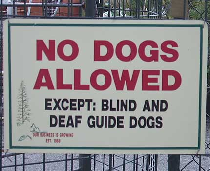 Funny Sign - Blind Dog